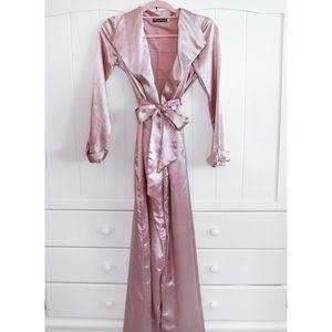 Pink satin long duster coat